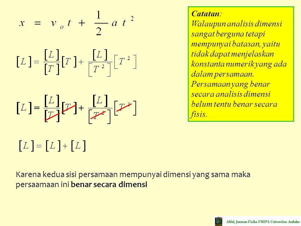 Karena kedua sisi persamaan mempunyai dimensi yang sama maka persaamaan ini benar secara dimensi Catatan: Walaupun analisis dimensi sangat berguna tet