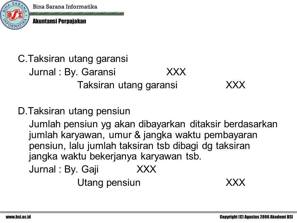 C.Taksiran utang garansi Jurnal : By. GaransiXXX Taksiran utang garansiXXX D.Taksiran utang pensiun Jumlah pensiun yg akan dibayarkan ditaksir berdasa