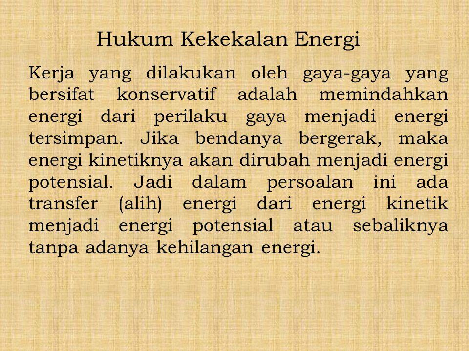 Hukum Kekekalan Energi Kerja yang dilakukan oleh gaya-gaya yang bersifat konservatif adalah memindahkan energi dari perilaku gaya menjadi energi tersi