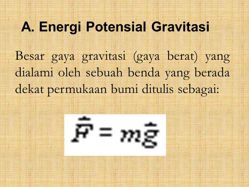 A. Energi Potensial Gravitasi Besar gaya gravitasi (gaya berat) yang dialami oleh sebuah benda yang berada dekat permukaan bumi ditulis sebagai: