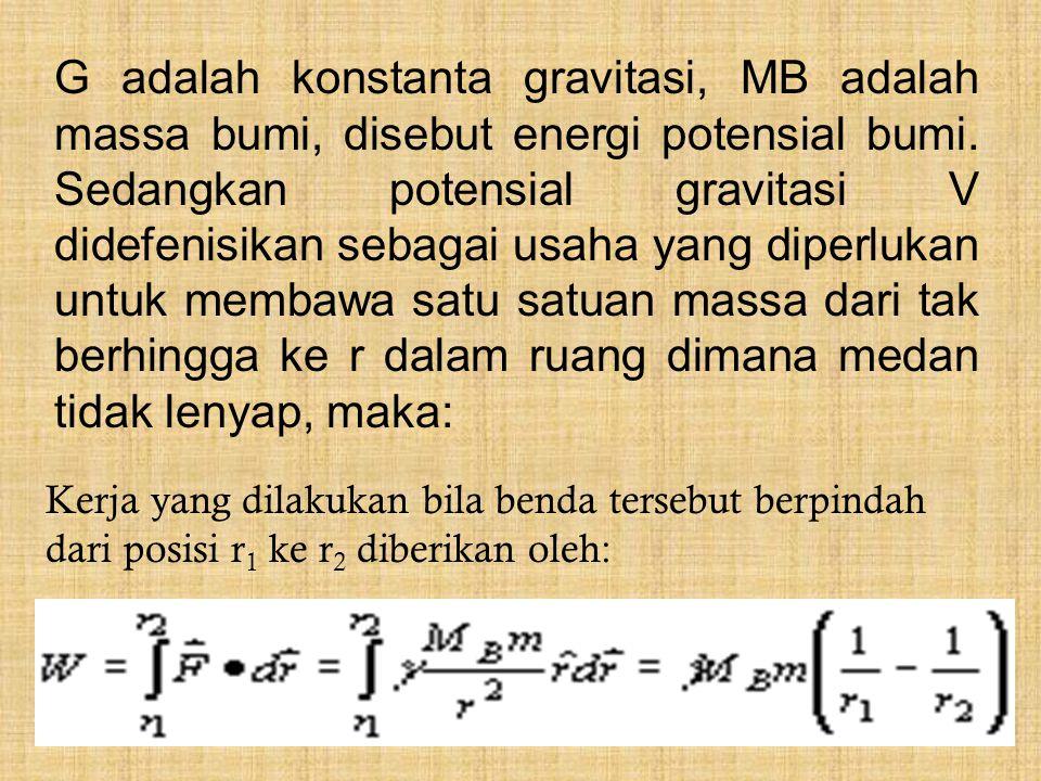 Kerja yang dilakukan bila benda tersebut berpindah dari posisi r 1 ke r 2 diberikan oleh: G adalah konstanta gravitasi, MB adalah massa bumi, disebut