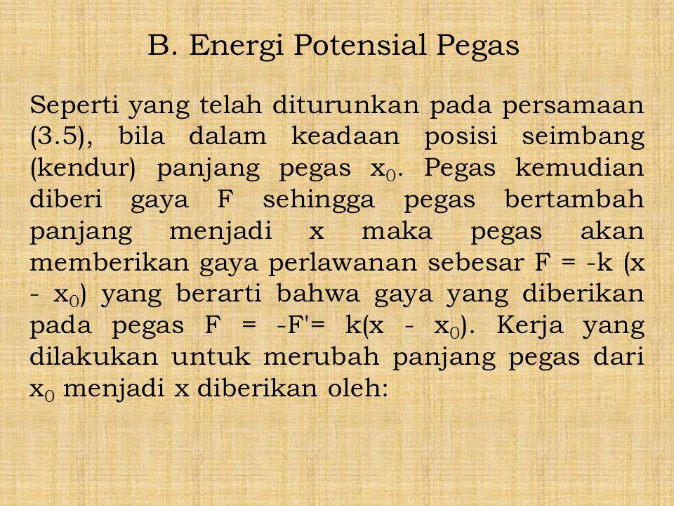 B. Energi Potensial Pegas Seperti yang telah diturunkan pada persamaan (3.5), bila dalam keadaan posisi seimbang (kendur) panjang pegas x 0. Pegas kem