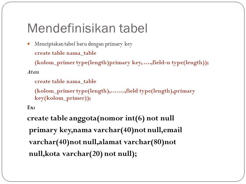 Mendefinisikan tabel Menciptakan tabel baru dengan primary key create table nama_table (kolom_primer type(length)primary key, ….,field-n type(length)); Atau create table nama_table (kolom_primer type(length),…….,field type(length),primary key(kolom_primer)); Ex: create table anggota(nomor int(6) not null primary key,nama varchar(40)not null,email varchar(40)not null,alamat varchar(80)not null,kota varchar(20) not null);