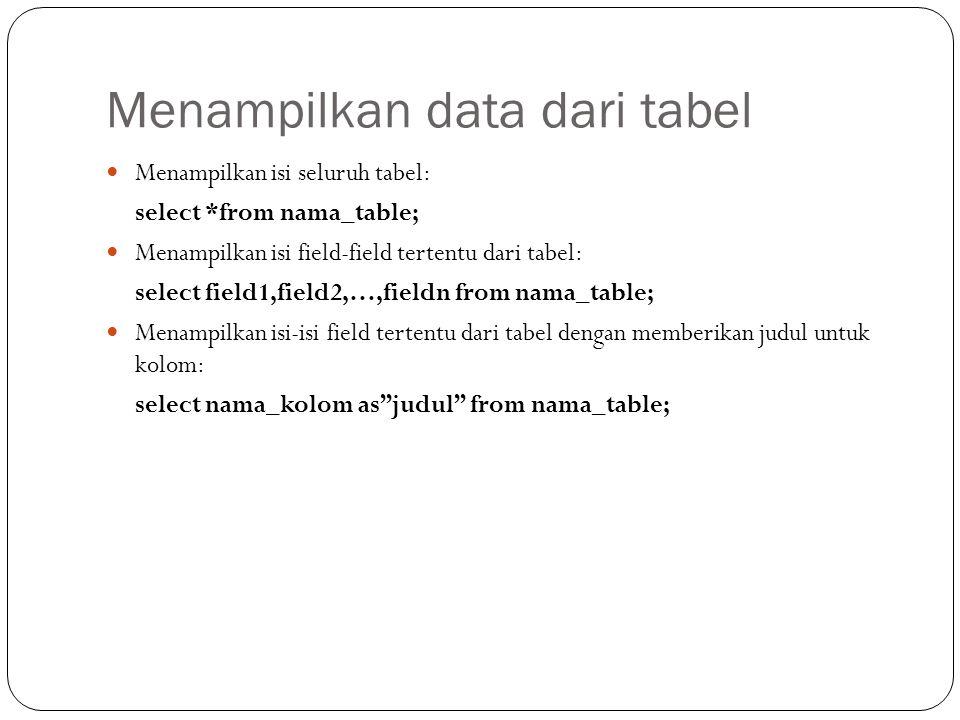 Menampilkan data dari tabel Menampilkan isi seluruh tabel: select *from nama_table; Menampilkan isi field-field tertentu dari tabel: select field1,field2,…,fieldn from nama_table; Menampilkan isi-isi field tertentu dari tabel dengan memberikan judul untuk kolom: select nama_kolom as judul from nama_table;