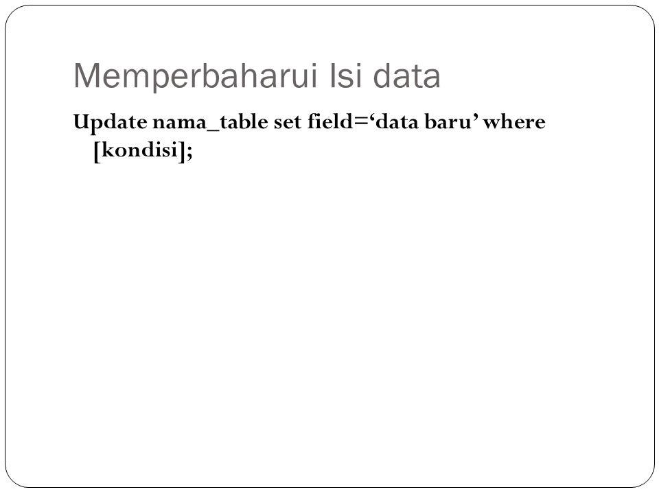 Memperbaharui Isi data Update nama_table set field='data baru' where [kondisi];