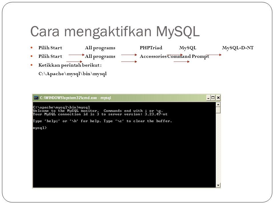 Cara mengaktifkan MySQL Pilih StartAll programsPHPTriad MySQLMySQL-D-NT Pilih StartAll programsAccessoriesCommand Prompt Ketikkan perintah berikut : C