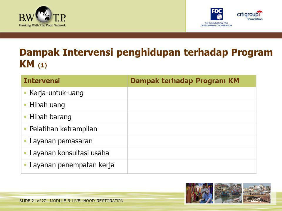 SLIDE 21 of 27– MODULE 5: LIVELIHOOD RESTORATION Dampak Intervensi penghidupan terhadap Program KM (1) IntervensiDampak terhadap Program KM  Kerja-un