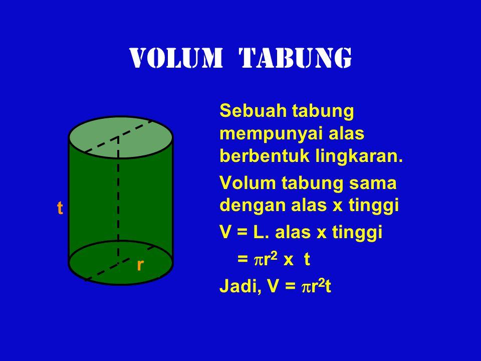 VOLUM TABUNG Sebuah tabung mempunyai alas berbentuk lingkaran. Volum tabung sama dengan alas x tinggi V = L. alas x tinggi =  r 2 x t Jadi, V =  r 2