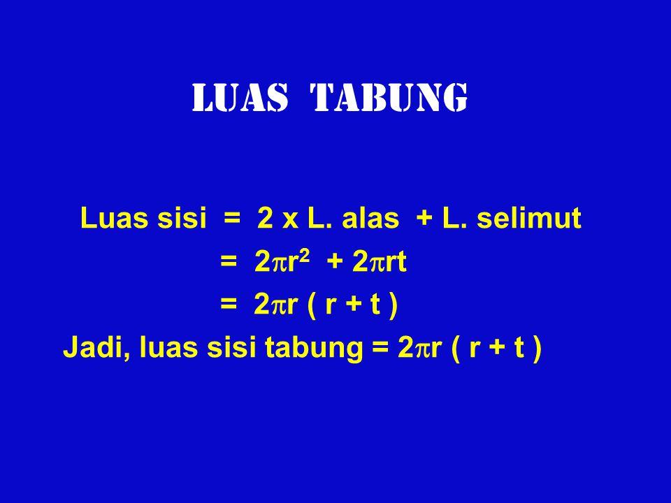 LUAS TABUNG Luas sisi = 2 x L. alas + L. selimut = 2  r 2 + 2  rt = 2  r ( r + t ) Jadi, luas sisi tabung = 2  r ( r + t )