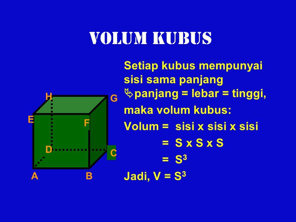 VOLUM KUBUS Setiap kubus mempunyai sisi sama panjang  panjang = lebar = tinggi, maka volum kubus: Volum = sisi x sisi x sisi = S x S x S = S 3 Jadi,