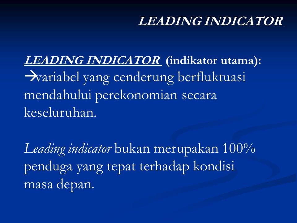 Index of leading economic indicators (Conference Board): 1)Rata-rata minggu kerja produksi bagi pekerja di sektor manufaktur 2)Rata-rata klaim mingguan pada asuransi pengangguran 3)Pesanan barang-barang konsumen dan material baru, disesuaikan dengan inflasi 4)Pesanan baru, barang-barang modal non pertahanan 5)Kinerja Produsen 6)Pemberian izin untuk mendirikan bangunan-bangunan baru 7)Indeks harga saham 8)Jumlah uang beredar (M2), disesuaikan dengan inflasi 9)Perbedaan tingkat bunga : antara treasury notes 10 tahun dengan Treasury bills 3 bulan.