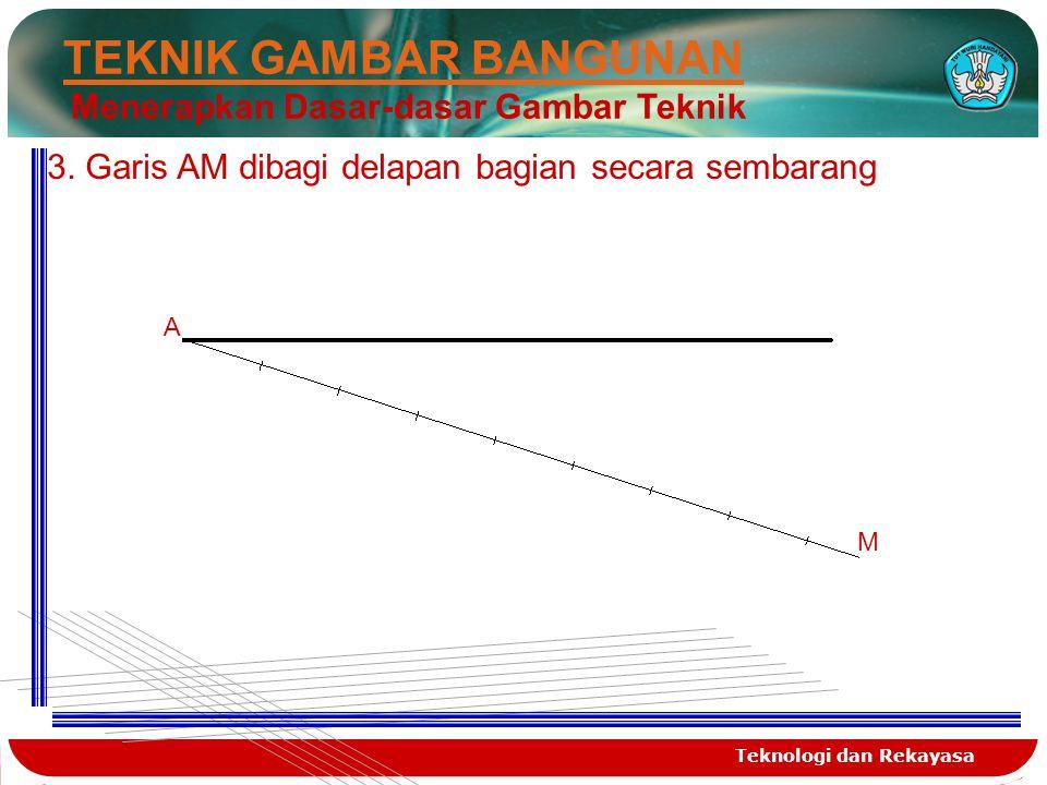 Teknologi dan Rekayasa TEKNIK GAMBAR BANGUNAN Menerapkan Dasar-dasar Gambar Teknik 3. Garis AM dibagi delapan bagian secara sembarang A M