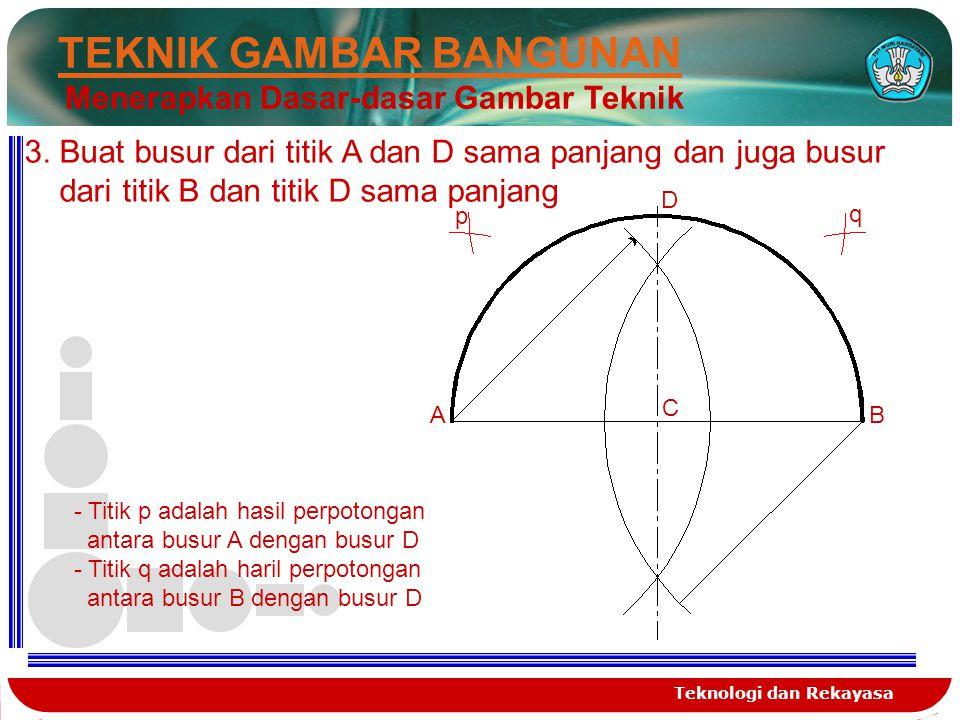 Teknologi dan Rekayasa TEKNIK GAMBAR BANGUNAN Menerapkan Dasar-dasar Gambar Teknik 3. Buat busur dari titik A dan D sama panjang dan juga busur dari t