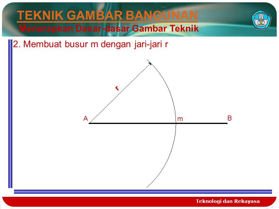 Teknologi dan Rekayasa TEKNIK GAMBAR BANGUNAN Menerapkan Dasar-dasar Gambar Teknik Untuk membagi garis busur/lengkung yang sama besar kita gunakan rumus yaitu 180º : jumlah pembagian keliling yang diinginkan.