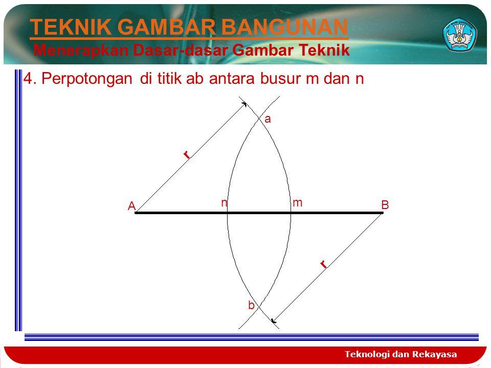 Teknologi dan Rekayasa TEKNIK GAMBAR BANGUNAN Menerapkan Dasar-dasar Gambar Teknik 4. Perpotongan di titik ab antara busur m dan n A B r r a b nm