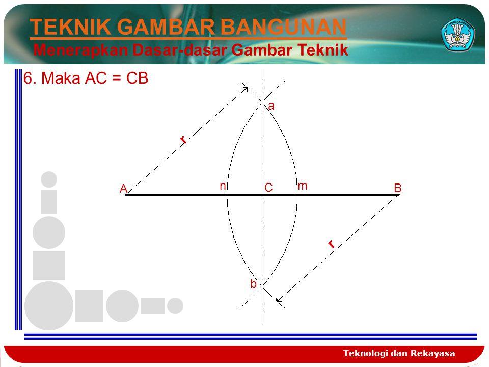 Teknologi dan Rekayasa TEKNIK GAMBAR BANGUNAN Menerapkan Dasar-dasar Gambar Teknik A B r r a b nm C 6. Maka AC = CB
