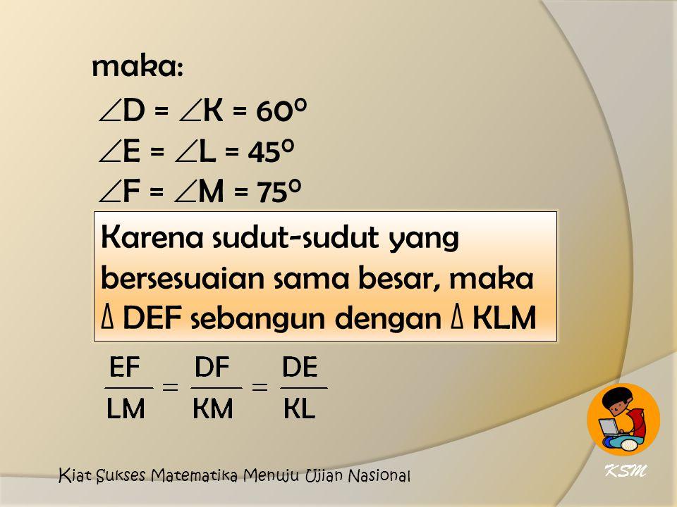 maka:  D =  K = 60 0  E =  L = 45 0  F =  M = 75 0 Karena sudut-sudut yang bersesuaian sama besar, maka ∆ DEF sebangun dengan ∆ KLM KSM K iat Sukses Matematika Menuju Ujian Nasional