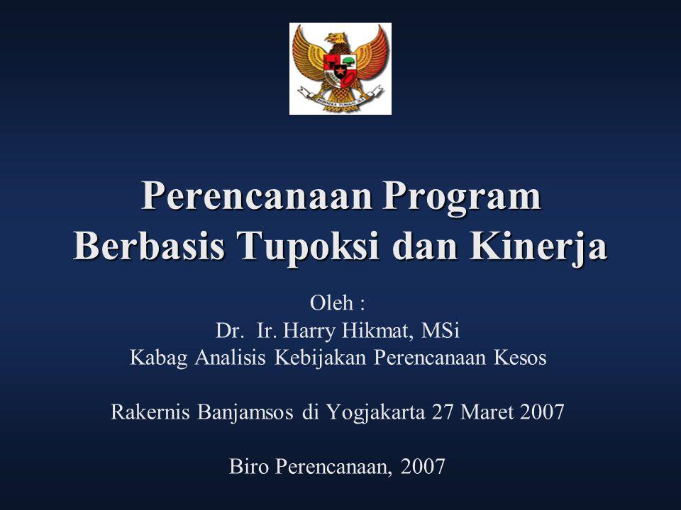 Perencanaan Program Berbasis Tupoksi dan Kinerja Oleh : Dr. Ir. Harry Hikmat, MSi Kabag Analisis Kebijakan Perencanaan Kesos Rakernis Banjamsos di Yog