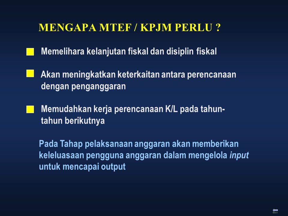 Back MENGAPA MTEF / KPJM PERLU ? Memelihara kelanjutan fiskal dan disiplin fiskal Akan meningkatkan keterkaitan antara perencanaan dengan penganggaran
