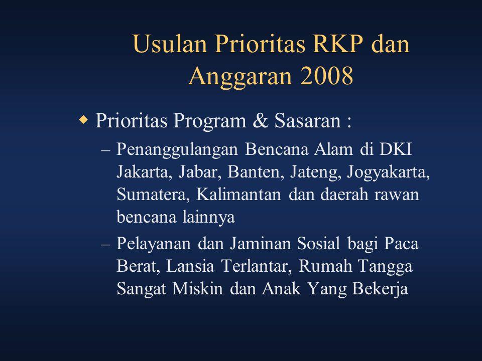 Usulan Prioritas RKP dan Anggaran 2008  Prioritas Program & Sasaran : – Penanggulangan Bencana Alam di DKI Jakarta, Jabar, Banten, Jateng, Jogyakarta