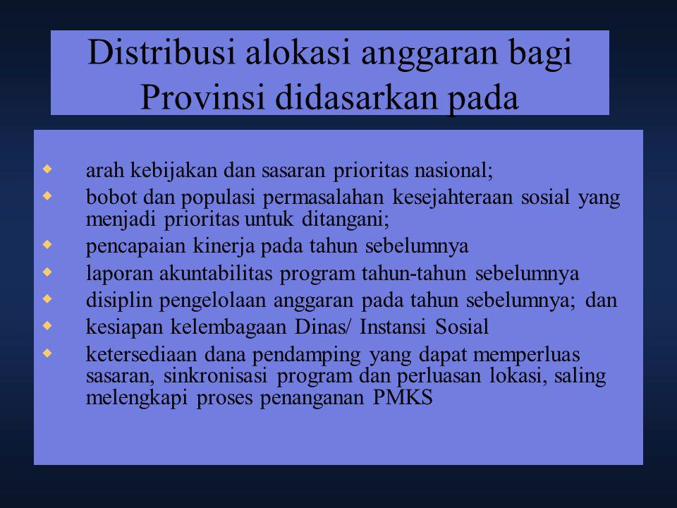 Distribusi alokasi anggaran bagi Provinsi didasarkan pada  arah kebijakan dan sasaran prioritas nasional;  bobot dan populasi permasalahan kesejahte