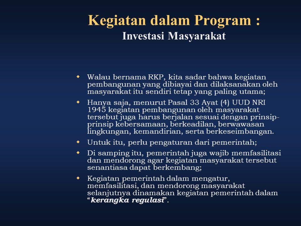 Kegiatan dalam Program : Investasi Masyarakat  Walau bernama RKP, kita sadar bahwa kegiatan pembangunan yang dibiayai dan dilaksanakan oleh masyaraka