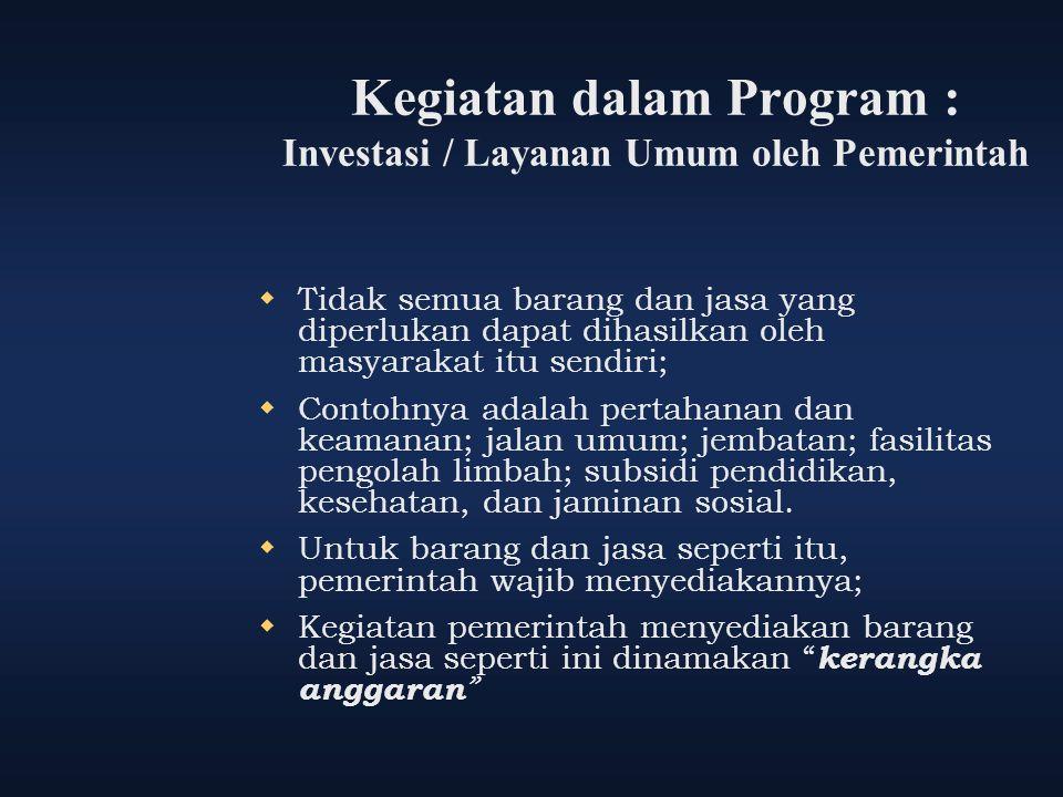Kegiatan dalam Program : Investasi / Layanan Umum oleh Pemerintah  Tidak semua barang dan jasa yang diperlukan dapat dihasilkan oleh masyarakat itu s
