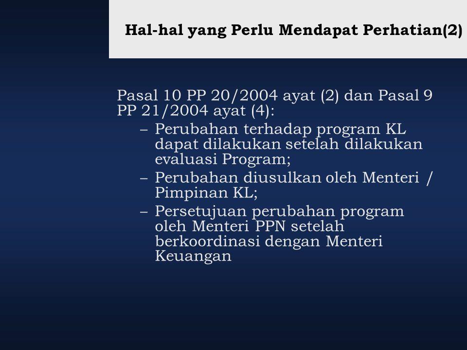 Hal-hal yang Perlu Mendapat Perhatian(2) Pasal 10 PP 20/2004 ayat (2) dan Pasal 9 PP 21/2004 ayat (4): – Perubahan terhadap program KL dapat dilakukan