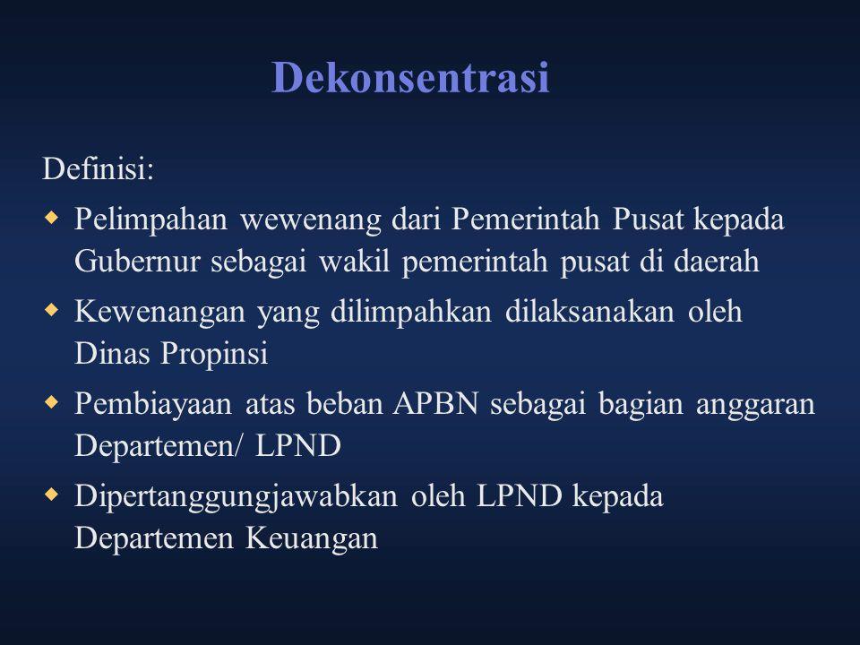Dekonsentrasi Definisi:  Pelimpahan wewenang dari Pemerintah Pusat kepada Gubernur sebagai wakil pemerintah pusat di daerah  Kewenangan yang dilimpa