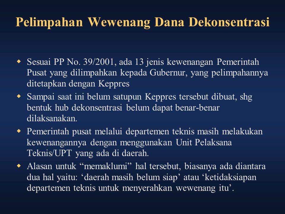 Pelimpahan Wewenang Dana Dekonsentrasi  Sesuai PP No. 39/2001, ada 13 jenis kewenangan Pemerintah Pusat yang dilimpahkan kepada Gubernur, yang pelimp