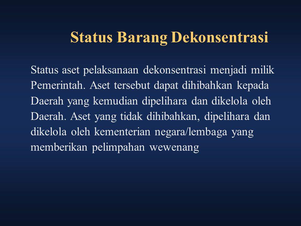 Status Barang Dekonsentrasi Status aset pelaksanaan dekonsentrasi menjadi milik Pemerintah. Aset tersebut dapat dihibahkan kepada Daerah yang kemudian