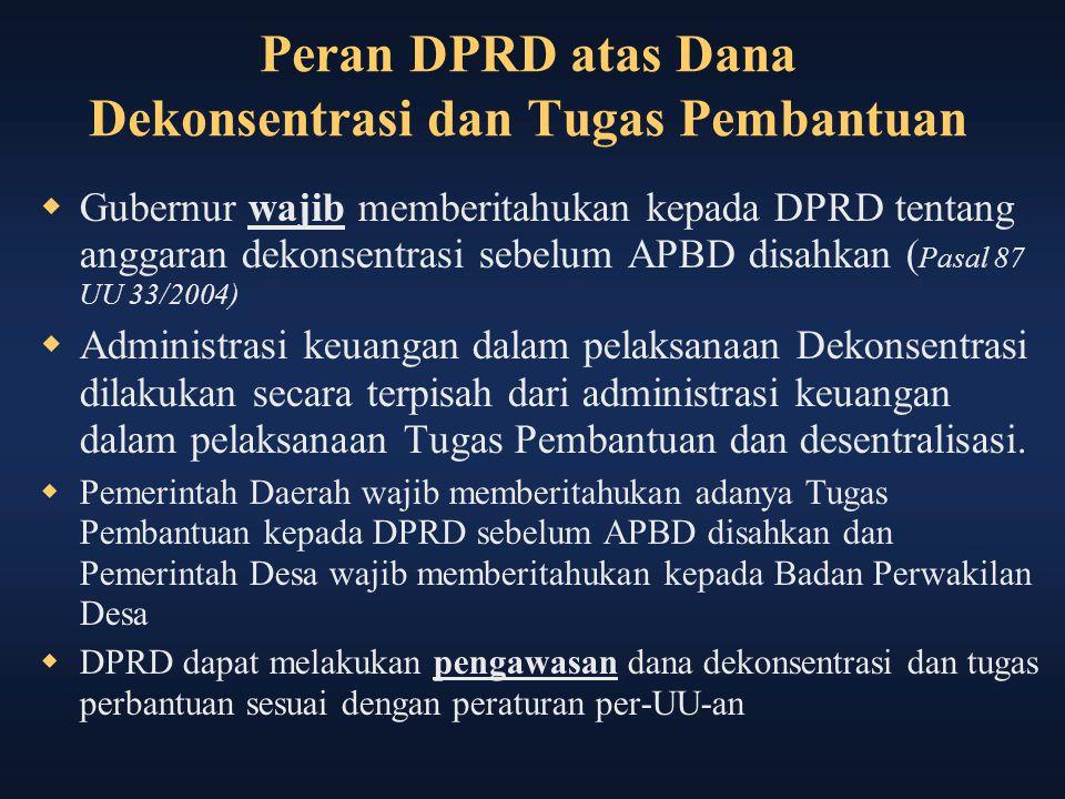 Peran DPRD atas Dana Dekonsentrasi dan Tugas Pembantuan  Gubernur wajib memberitahukan kepada DPRD tentang anggaran dekonsentrasi sebelum APBD disahk