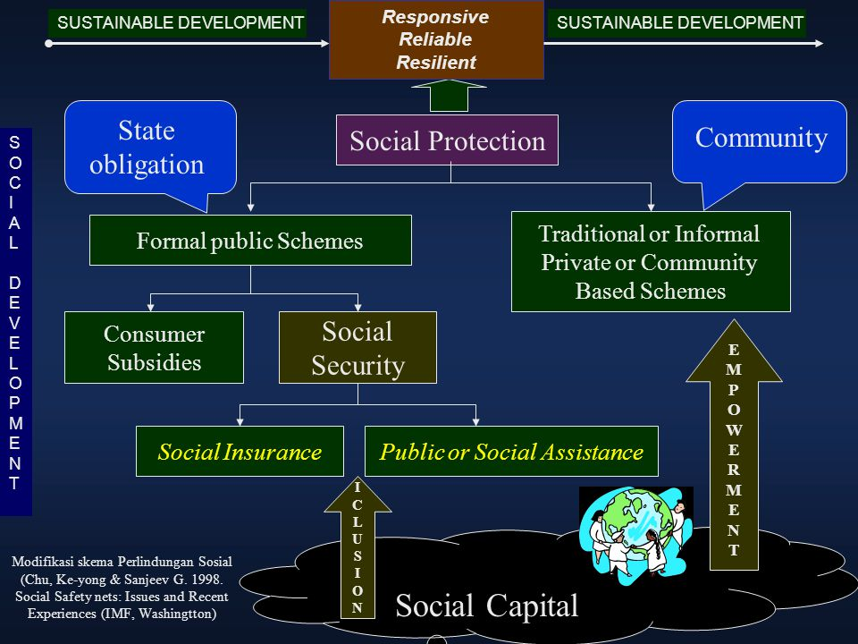 Social Protection Traditional or Informal Private or Community Based Schemes Formal public Schemes Consumer Subsidies Social Security Social Insurance