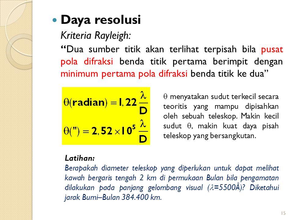 """15 Daya resolusi Kriteria Rayleigh: """"Dua sumber titik akan terlihat terpisah bila pusat pola difraksi benda titik pertama berimpit dengan minimum pert"""