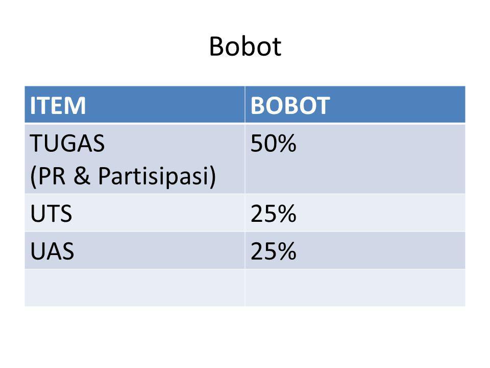 Bobot ITEMBOBOT TUGAS (PR & Partisipasi) 50% UTS25% UAS25%