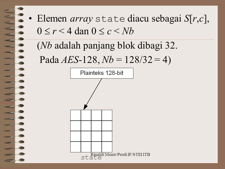 Rinaldi Munir/Prodi IF/STEI ITB Elemen array state diacu sebagai S[r,c], 0  r < 4 dan 0  c < Nb (Nb adalah panjang blok dibagi 32. Pada AES-128, Nb