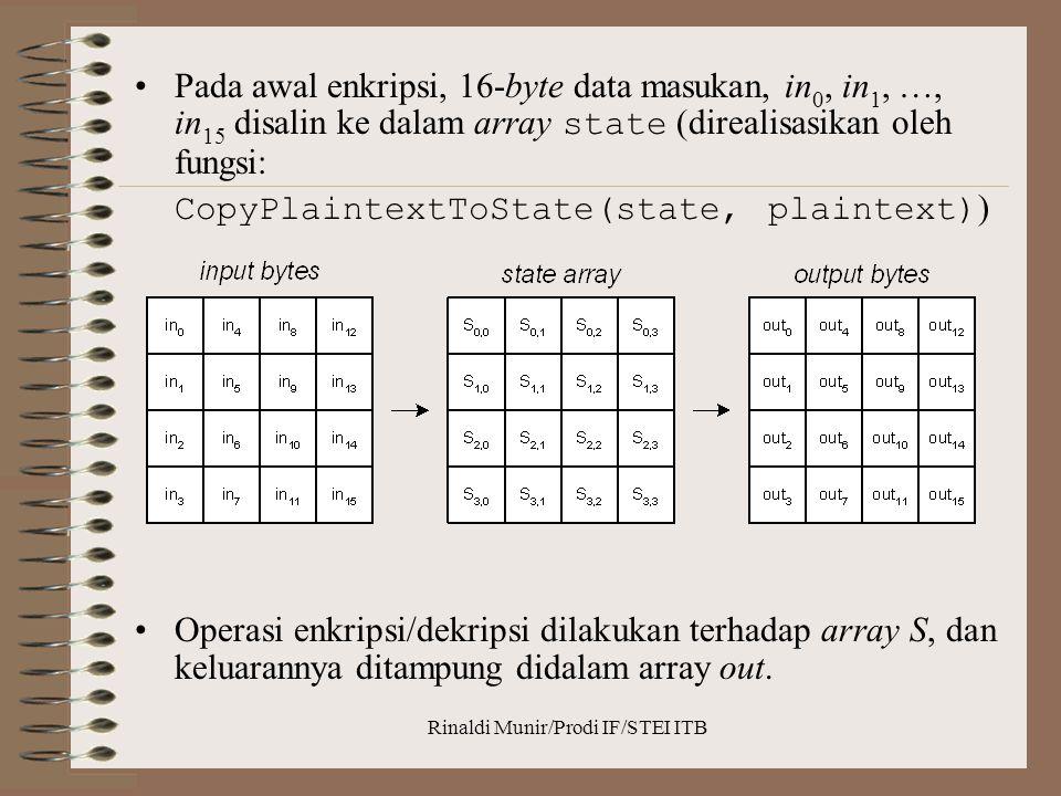 Rinaldi Munir/Prodi IF/STEI ITB Pada awal enkripsi, 16-byte data masukan, in 0, in 1, …, in 15 disalin ke dalam array state (direalisasikan oleh fungs