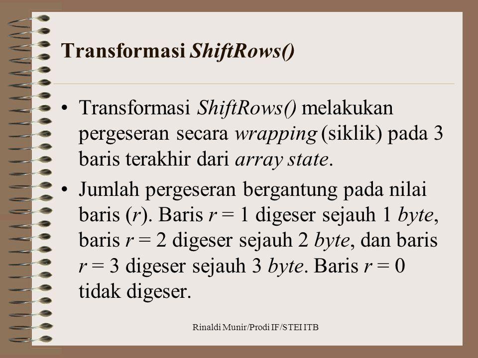 Transformasi ShiftRows() Transformasi ShiftRows() melakukan pergeseran secara wrapping (siklik) pada 3 baris terakhir dari array state. Jumlah pergese