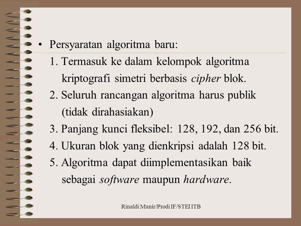 Rinaldi Munir/Prodi IF/STEI ITB Persyaratan algoritma baru: 1. Termasuk ke dalam kelompok algoritma kriptografi simetri berbasis cipher blok. 2. Selur