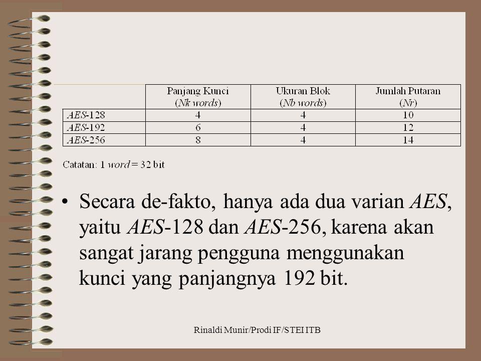 Rinaldi Munir/Prodi IF/STEI ITB Secara de-fakto, hanya ada dua varian AES, yaitu AES-128 dan AES-256, karena akan sangat jarang pengguna menggunakan k