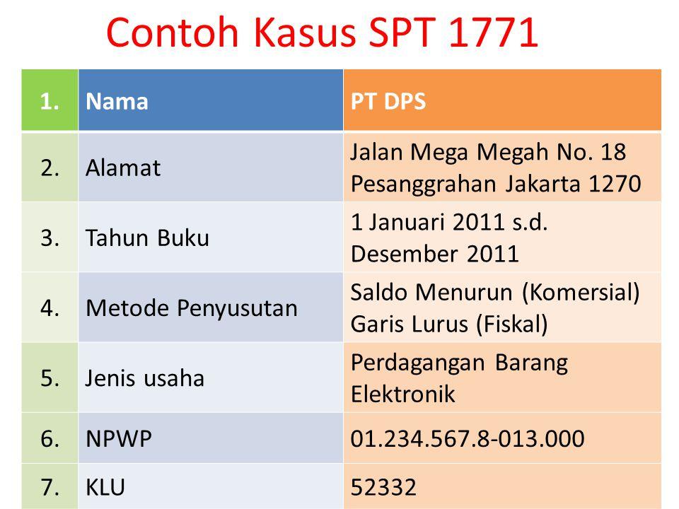 Contoh Kasus SPT 1771 1.NamaPT DPS 2.Alamat Jalan Mega Megah No. 18 Pesanggrahan Jakarta 1270 3.Tahun Buku 1 Januari 2011 s.d. Desember 2011 4.Metode
