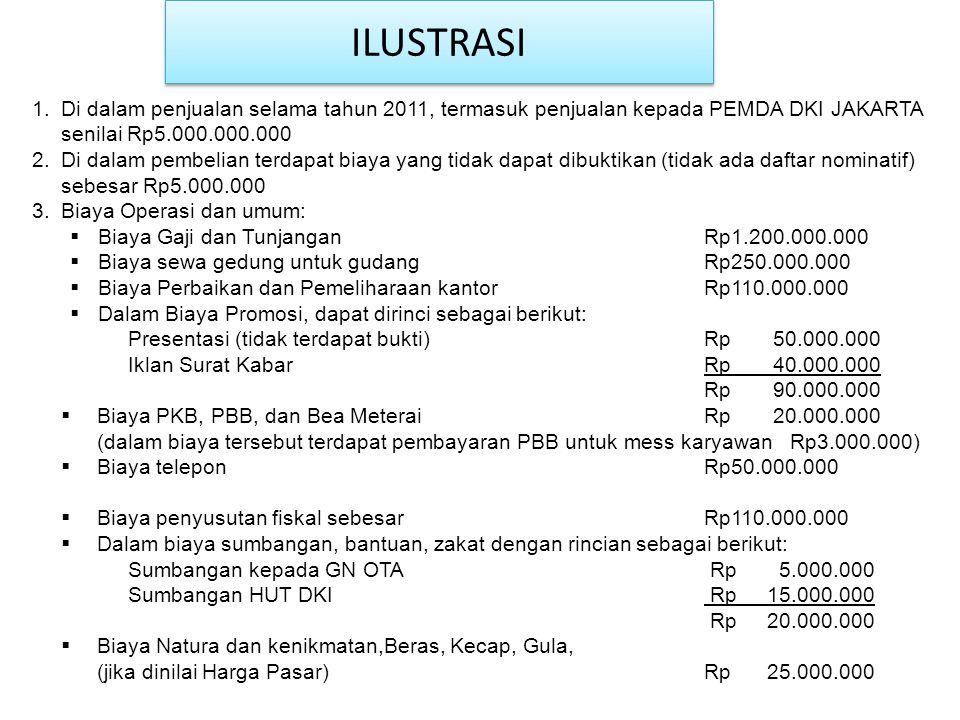 1.Di dalam penjualan selama tahun 2011, termasuk penjualan kepada PEMDA DKI JAKARTA senilai Rp5.000.000.000 2.Di dalam pembelian terdapat biaya yang t