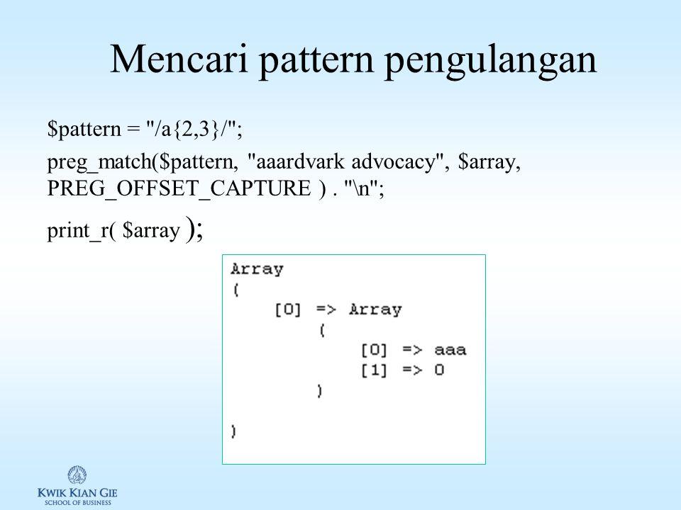 """Mencari pattern huruf dan dengan """"."""" print"""