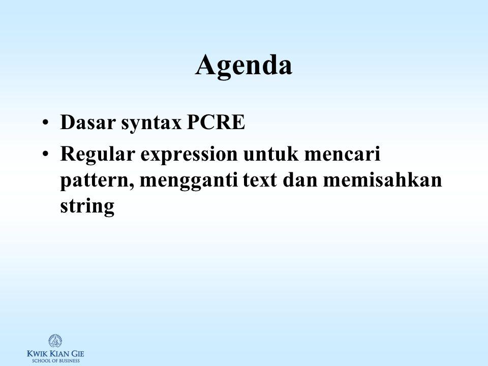 Web Teknologi I (MKB511C) Minggu 12 Page 1 MINGGU 12 Web Teknologi I (MKB511C) Pokok Bahasan: – Text processing perl-compatible regular expression/PCR