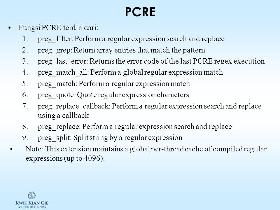 Agenda Dasar syntax PCRE Regular expression untuk mencari pattern, mengganti text dan memisahkan string