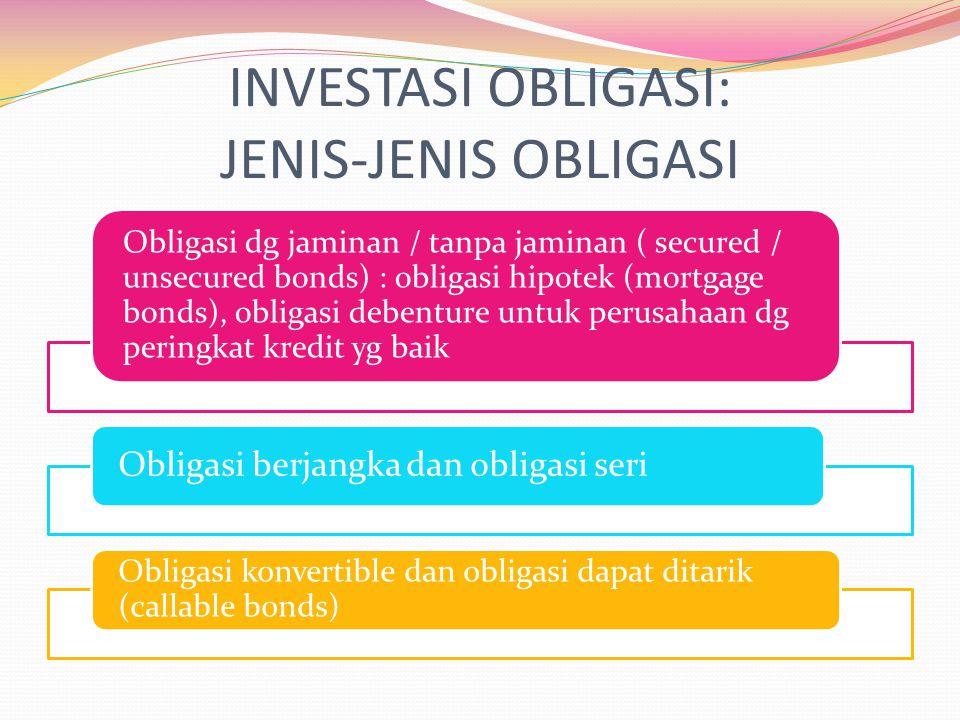 INVESTASI OBLIGASI: JENIS-JENIS OBLIGASI Obligasi dg jaminan / tanpa jaminan ( secured / unsecured bonds) : obligasi hipotek (mortgage bonds), obligas