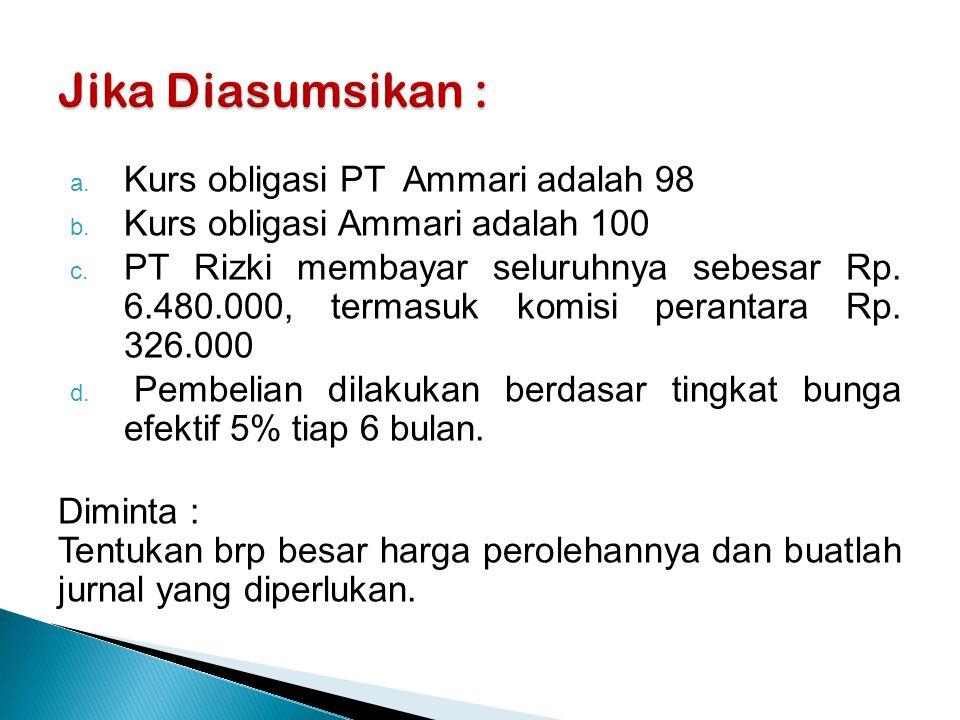 a.Kurs obligasi PT Ammari adalah 98 b. Kurs obligasi Ammari adalah 100 c.