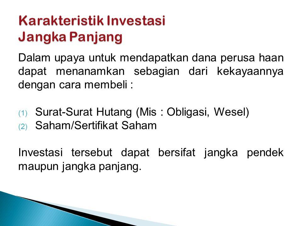 Investasi yang bersifat jangka pendek diklasifi- kasikan sebagai Aktiva Lancar dan disajikan dalam neraca dalam kelompok Surat-Surat Berharga (Marketable Securities).