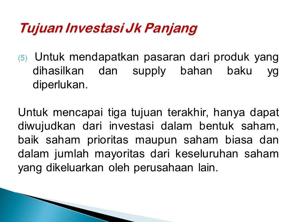 (5) Untuk mendapatkan pasaran dari produk yang dihasilkan dan supply bahan baku yg diperlukan.