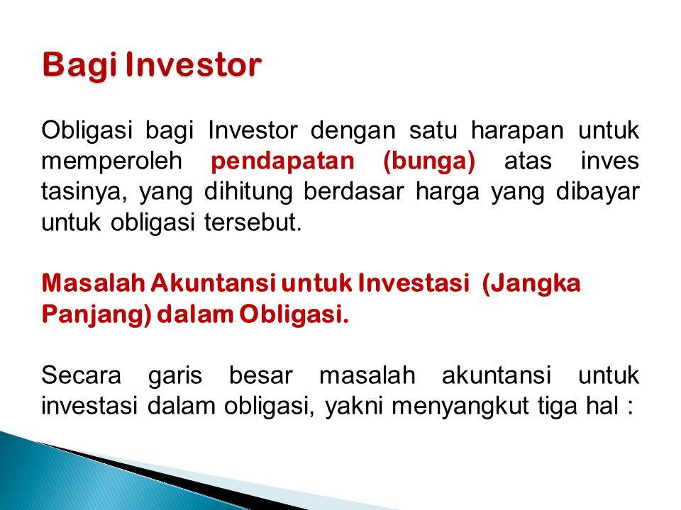 Obligasi bagi Investor dengan satu harapan untuk memperoleh pendapatan (bunga) atas inves tasinya, yang dihitung berdasar harga yang dibayar untuk obligasi tersebut.